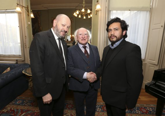 24/11/2016 : Pictured was President of Ireland Michael D Higgins and Front Line Defenders Executive Director Andrew Anderson greeting Colombian human rights defender Carlos Guevara at the launch of the Human Rights Defenders Memorial in Dublin. Picture Conor McCabe Photography.