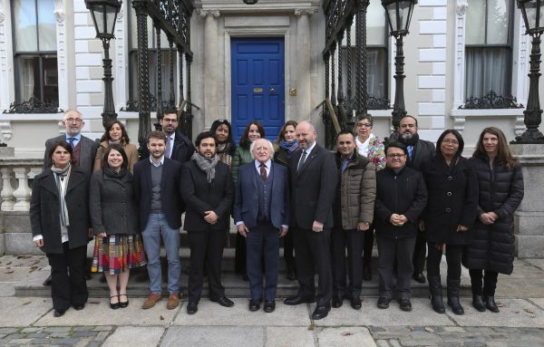 24/11/2016 : Pictured was President of Ireland Michael D Higgins (centre) and Front Line Defenders Executive Director Andrew Anderson with an international committee of human rights defenders and NGO representatives at the launch of the Human Rights Defenders Memorial in Dublin. Picture Conor McCabe Photography.